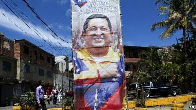 Poster of Venezuelan President Hugo Chavez, Caracas, 26 Feb