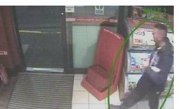 Rocky Curtis, the killer of Sonny Grey, shown on CCTV in a service station