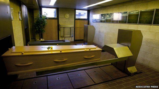 Coffin inside a crematorium