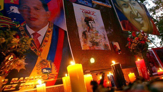 An improvised altar in memory of President Chavez
