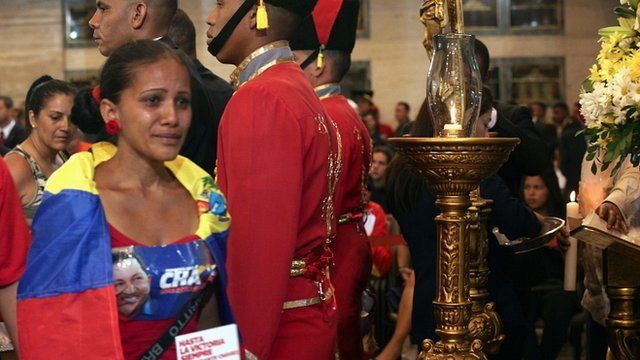 Woman mourning President Hugo Chavez