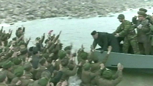 Soldiers wade into water to wave off Kim Jong-un