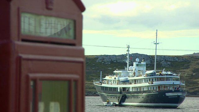 Boat and phone box in the Falklands