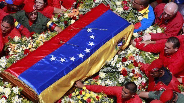 Coffin containing the body of Venezuela's late President Hugo Chavez