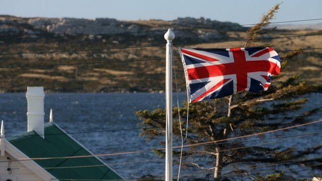 Union Jack flies in the Falkland Islands