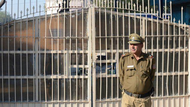 A guard outside Tihar jail