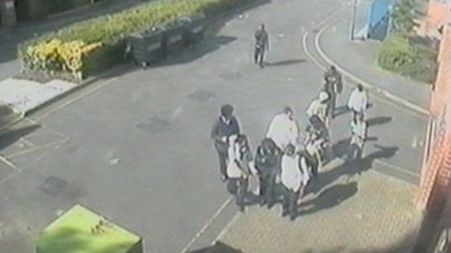 CCTV footage of a gang
