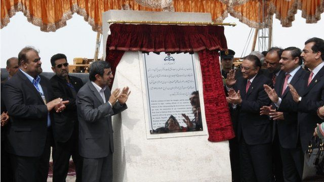 Iran's Mahmoud Ahmadinejad and President Asif Ali Zardari of Pakistan unveil plaque at pipeline inauguration