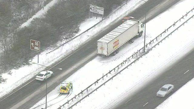 Stranded truck on motorway