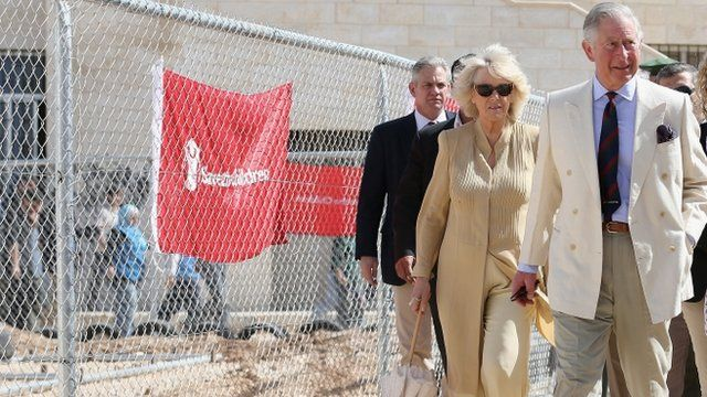 Prince Charles and the Duchess of Cornwall at a refugee camp in Jordan