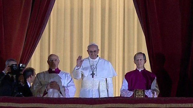 Argentine Cardinal Jorge Mario Bergoglio has greeting crowds in Rome's St Peter's Square