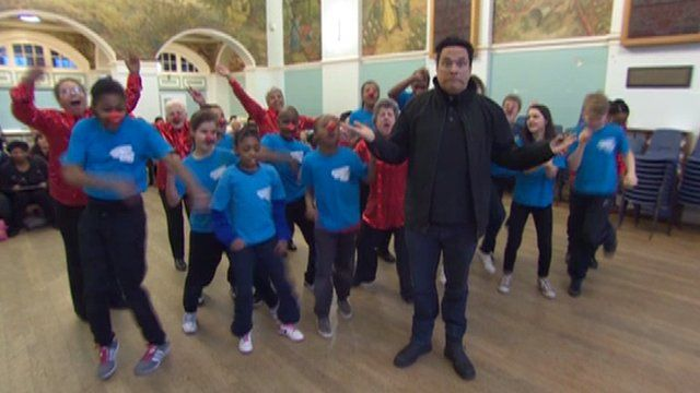 Dom Joly with kids in south-east London
