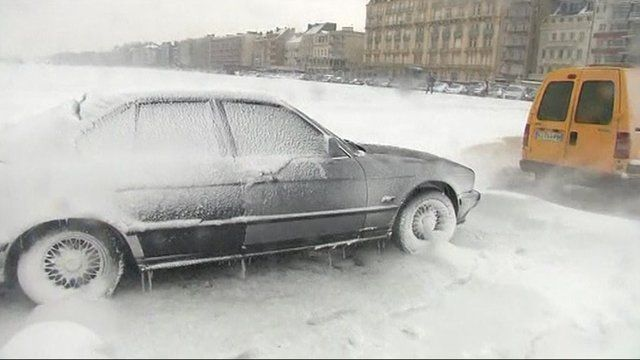 Blizzard conditions in northern France