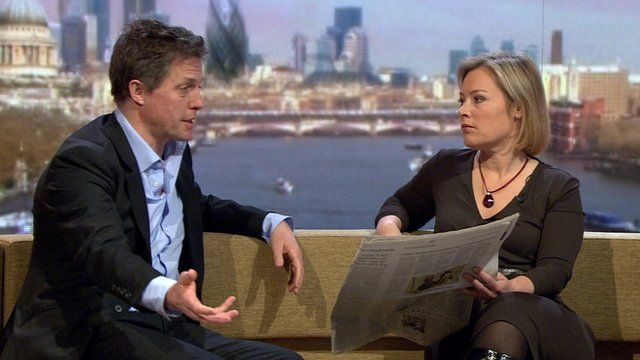 Hugh Grant and Gillian Tett