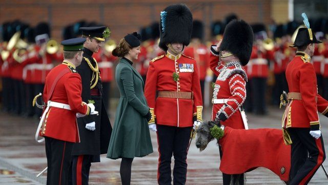 Duchess of Cambridge and soldiers from the 1st Battalion Irish