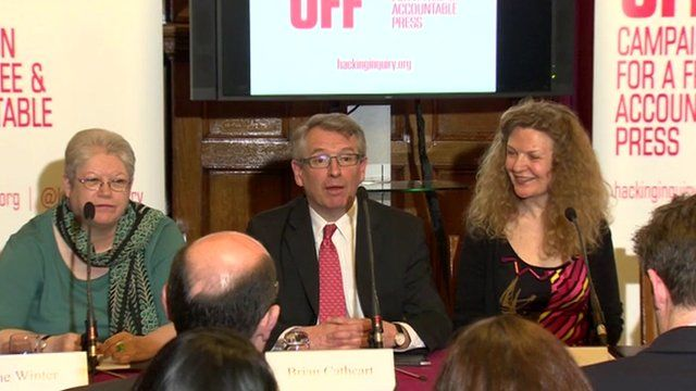 Hacked Off news conference, with Brian Cathcart, centre
