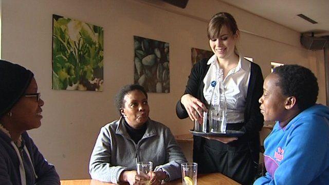 Waitress Aroa Campo who came to Bristol to learn English