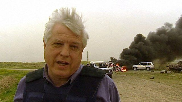 John Simpson doing a piece to camera describing events in the friendly fire incident