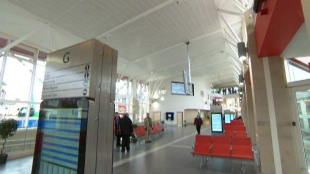 Inside Mansfield bus station