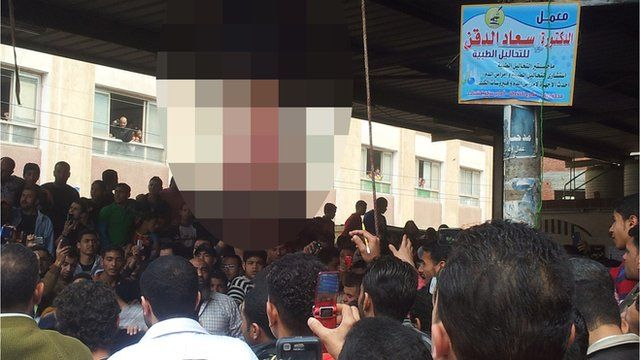 Footage showed the men being strung up and beaten