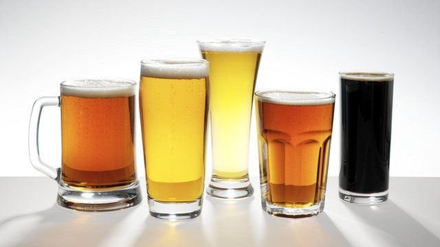 Five different beer brews