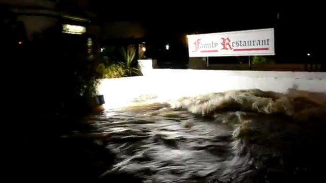 Flooding in Newlyn, Cornwall