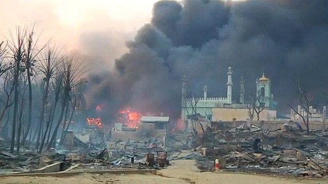 Fire burning in Burmese town