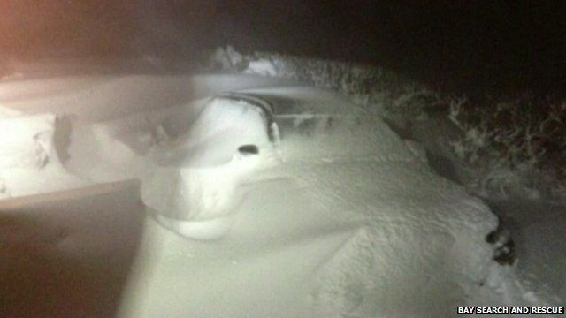 Car part-buried in snowdrift
