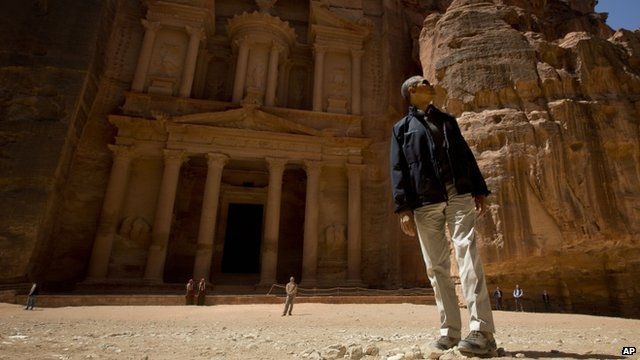 Barack Obama during his tour of the ancient city of Petra