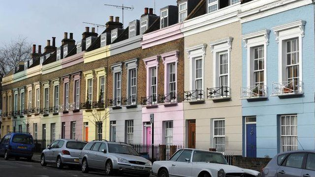 Pastel coloured terrace houses in Camden