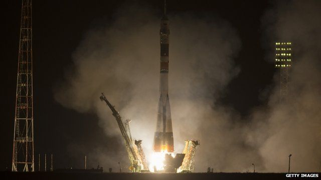 The Soyuz TMA-08M rocket launches from the Baikonur Cosmodrome