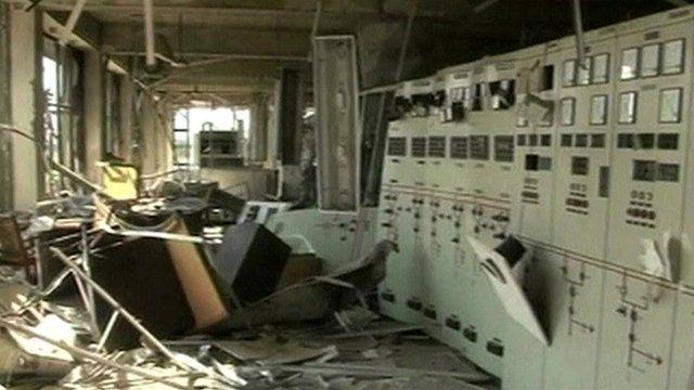 Damage inside power station