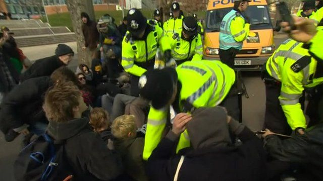 Police evicting protesters