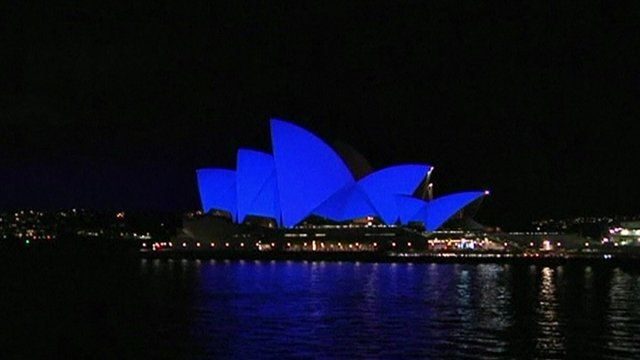 Sydney Opera House in special blue lighting