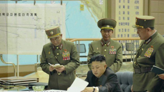 Kim Jong-un and Korean officers