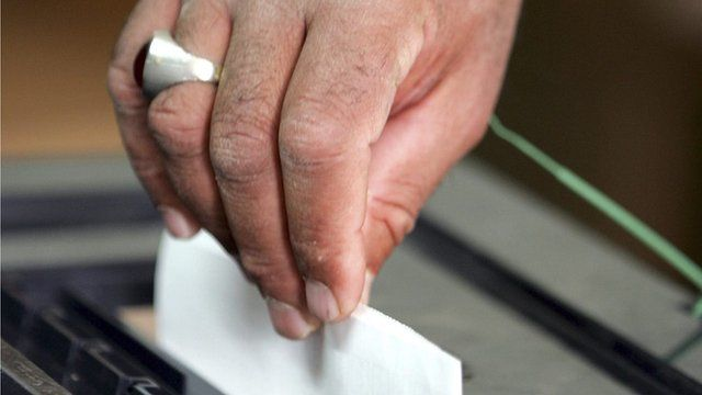Man votes in election