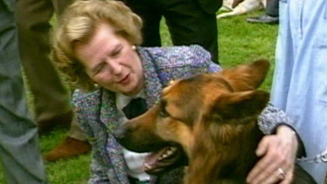 Margaret Thatcher pets dog