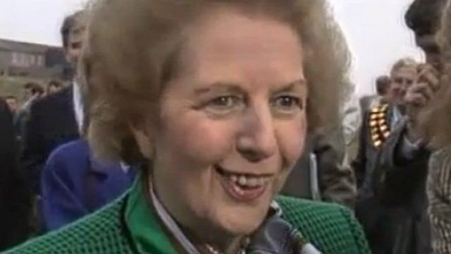 Margaret Thatcher on a visit to south Wales