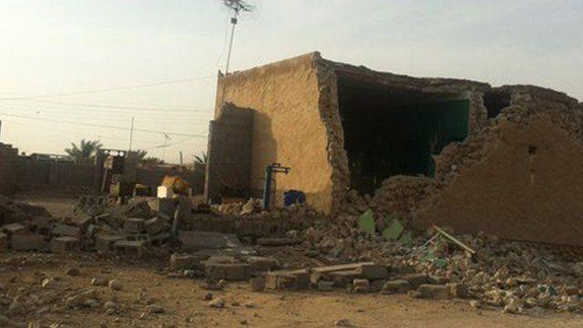 Damaged houses in Bushehr in Iran
