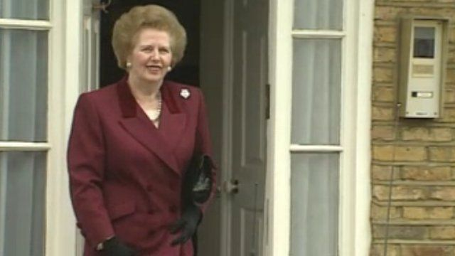 Margaret Thatcher outside her home in Dulwich