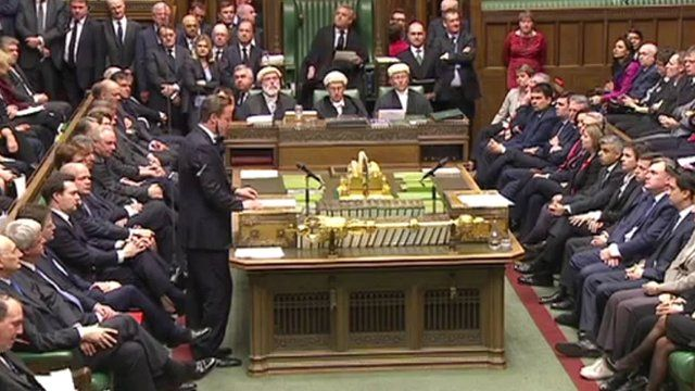 David Cameron speaks during the Commons tributes to Margaret Thatcher