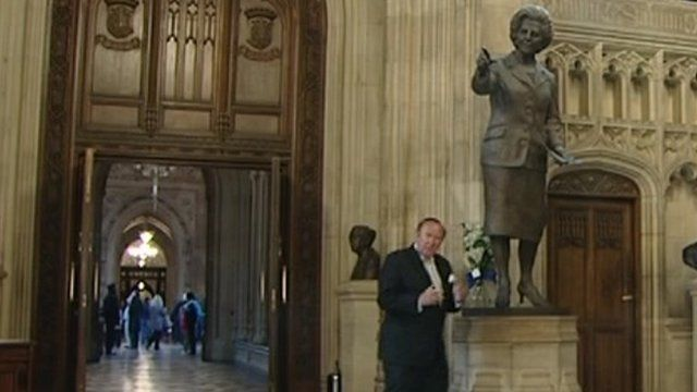 Andrew Neil with Margaret Thatcher statue