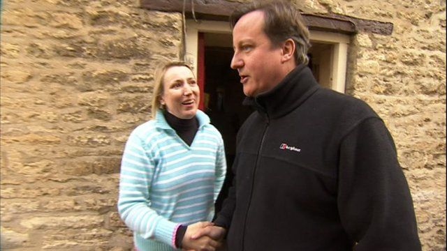 David Cameron with constituent in Witney
