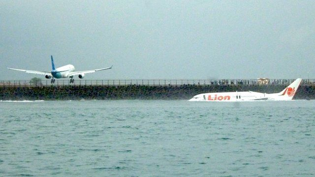 Indonesian Lion Air plane landed in sea in Bali
