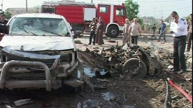 Cehicles damaged in one of the blasts