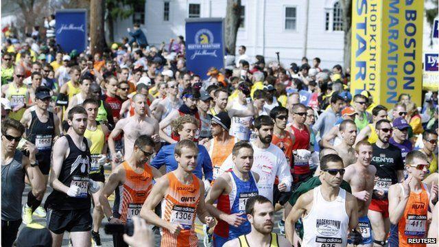 Runners at Boston marathon