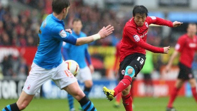 Cardiff City's Kim Bo-Kyung fires a shot against Nottingham Forest