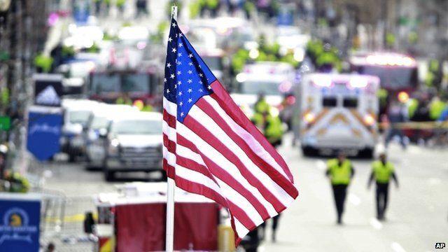 US flag at site of Boston Marathon