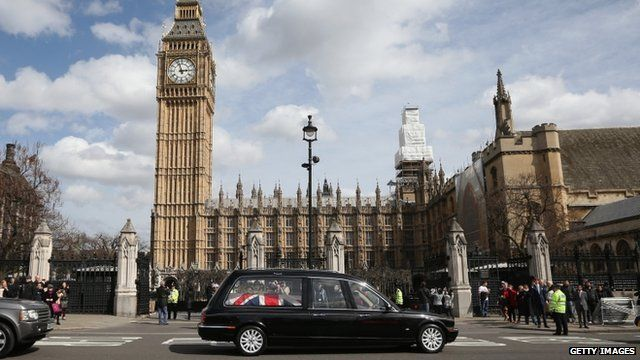 The coffin of former Prime Minister Margaret Thatcher arrives with a police escort at the Houses of Parliament