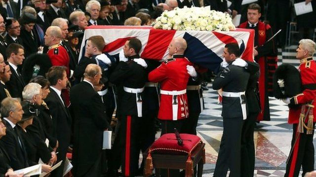 Baroness Thatcher's coffin is carried out of St Paul's, with brothers Bill Mott and Nick Mott at front and rear